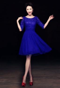 Элегантное короткое официальное Королевское голубое кружево украшенное женское платье цвета шампань для вечерние платья с половиной рукава W2852 - Цвет: royal blue short