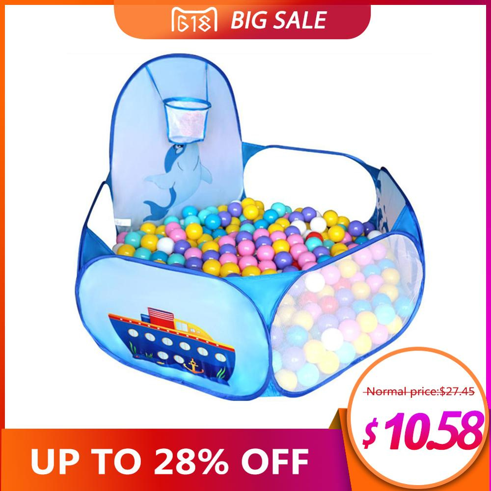 Cartoon Dolphin Pattern OUTAD Baby Ball Pit Foldable Washable Toy Pool Children Hexagon Ocean Game Play Tent House