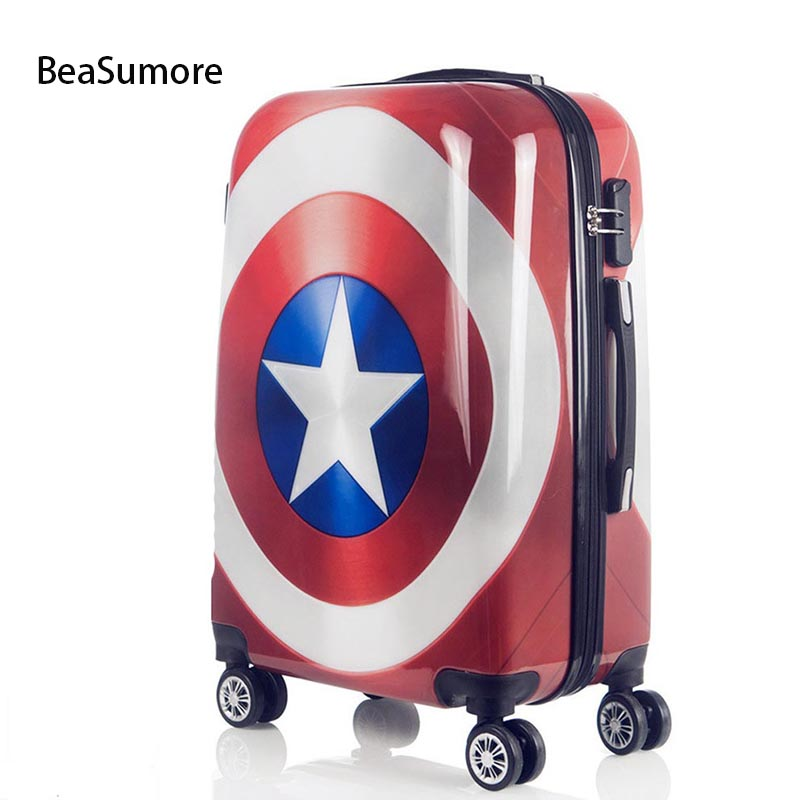 BeaSumore Cute Cartoon Children Rolling Luggage Spinner Super hero Suitcase Wheels Students Password Travel Bag Cabin