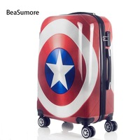 BeaSumore Cute Cartoon Children Rolling Luggage Spinner Super hero Suitcase Wheels Students Password Travel Bag Cabin Trolley