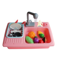 Kitchen Electric Children Sink Pretend Play Set Circulation Pool Educational Toys for Baby Kids Toys Kit Wholesale
