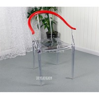 Simple Fashion Transparent Clear Modern Dining Chair With Armrest Plastic PP Dining Room Reception Chair Hotel Home Furniture
