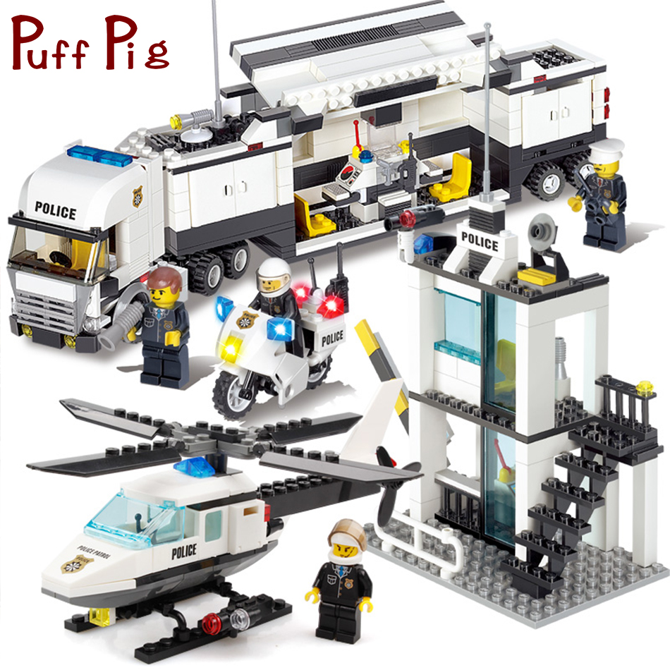 Police Station Trucks helicopter Building Blocks Set Compatible Legoe City Figures DIY Construction Bricks Toys for children boy 870pcs city police station big building blocks bricks helicopter boys toys birthday gift toy brinquedos compatible with legoing