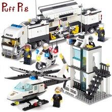 Police Station Trucks helicopter Building Blocks Set Compatible Legoe City Figures DIY Construction Bricks Toys for children boy