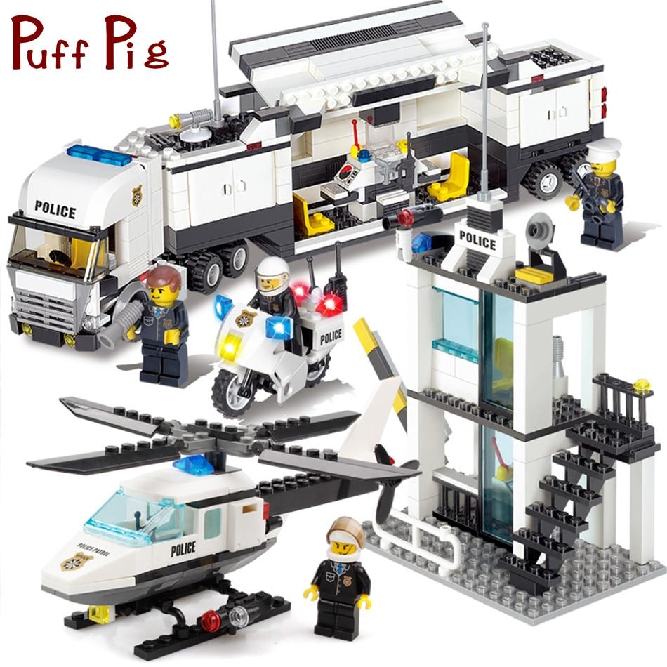Poste de Police Camions hélicoptère Building Blocks Set Compatible Legoe Ville Chiffres DIY Construction Briques Jouets pour enfants garçon