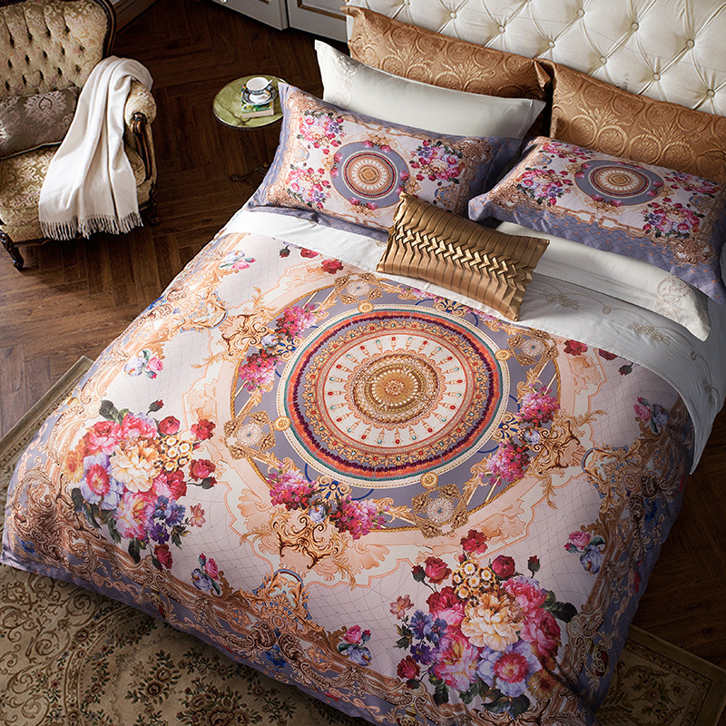 Egyptian Cotton Bohemia style Luxury Bedding set Queen King size Boho Duvet cover Silky Bed sheet