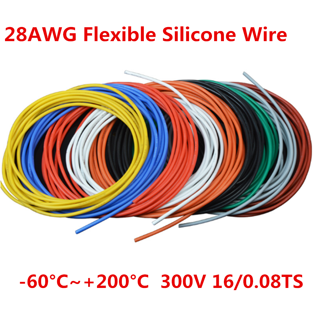 5 Metres <font><b>28AWG</b></font> Flexible Silicone wires RC <font><b>Cable</b></font> <font><b>28awg</b></font> 16/0.08TS Outer Diameter 1.2mm <font><b>cable</b></font> wire DIY 10 Colors image