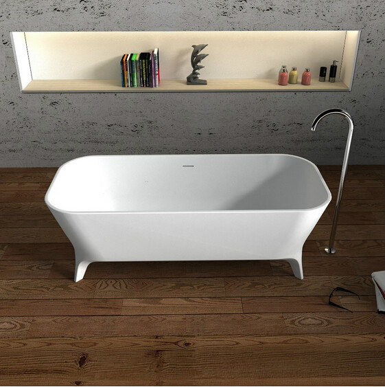 1800x800x600mm Solid Surface Stone CUPC Approval Bathtub Rectangular Freestanding Corian Matt white Finishing Tub RS65115