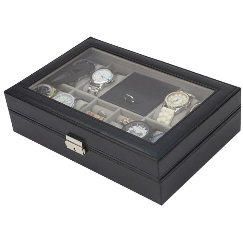 8 fentes montre boîte vitrine femmes bijoux organisateur affichage boîte de rangement de haute qualité