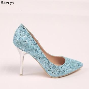 Female wedding dress shoes 9cm lignt Blue woman high heels slip-on sexy pumps bling bling paillette stiletto bride heels
