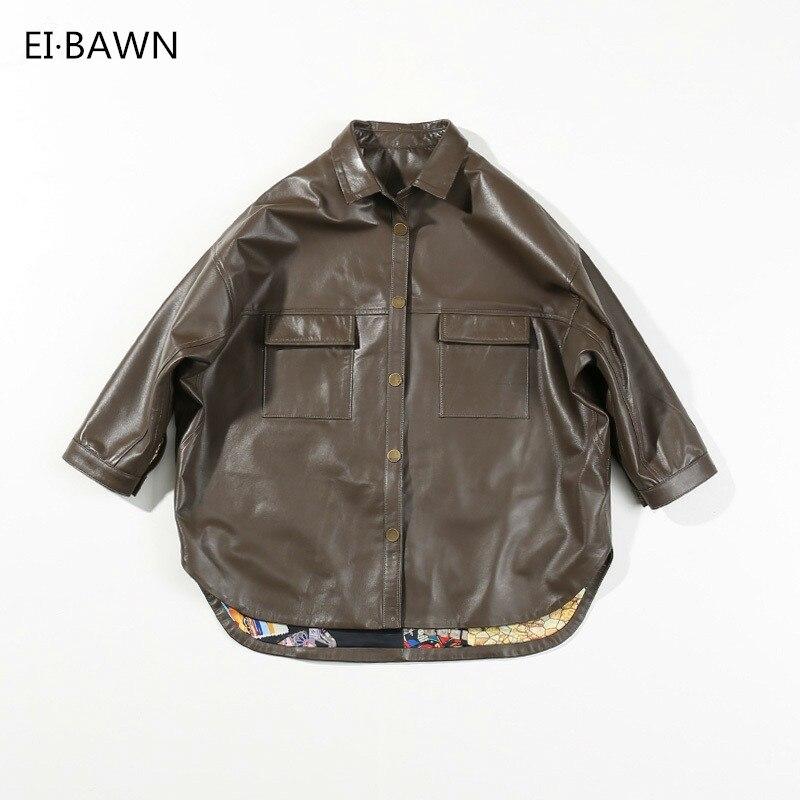 2018 Genuine Leather Jacket Women Black Sheepskin Oversized Coat Jackets Vintage Streetwear Plus Size Leather Jackets for Women