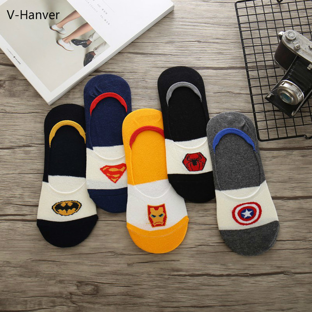 d5654a5c55f97 Autumn Men Harajuku Socks Invisible Socks Hop Ninja Batman Superman  SpiderMan Captain America Avengers Short Novelty Sokken