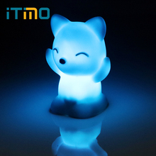 ITimo LED Night Light 7 Colors Changing Great Gift For Children Fox Shaped Bedroom Decoration Home Lighting Atmosphere Lamp