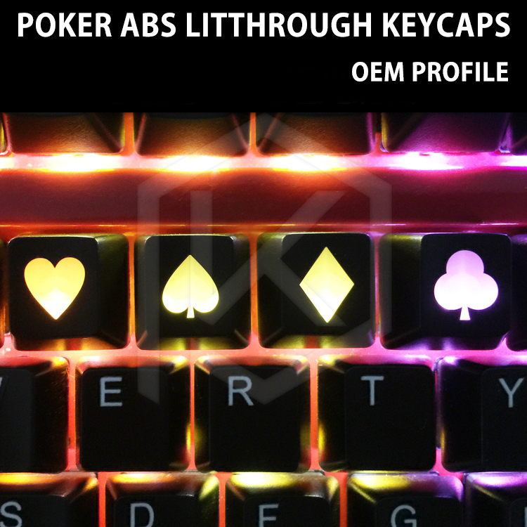 Novelty Shine Through Keycaps ABS Etched, Light,Shine-Throughlucky Poker Oem Profile Red Black