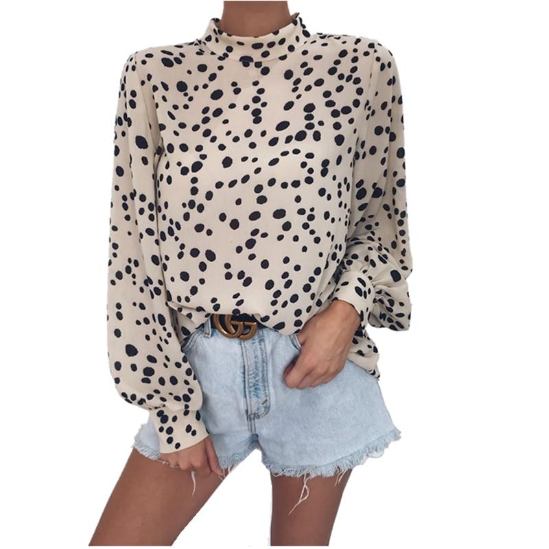 LOSSKY Autumn Women Leopard Print   Shirt   Tops 2019 TUrtleneck Casual Loose Long Sleeve Chiffon   Shirt     Blouse   Women's   Shirt   Blusas
