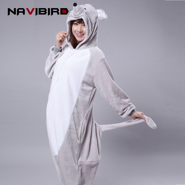Rat Animal Hoodie One-Piece Pajamas Winter Adult Onesie Men Cartoon Kigurumi Women Couple Sleepwear Pijama Dragon Pyjama