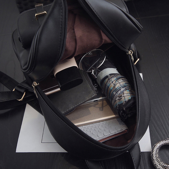 Women Pu Leather Cute 3 Sets Bag School Backpack