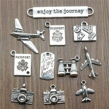 15pcs/lot Travel Charms Journey Charms Jewelry Making Aircraft Camera Passport Trunk Charms For Bracelet Making Antique Silver(China)