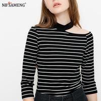 2018 Cotton Women Knitted Striped T Shirt Sexy Off Shoulder Slim Tee Shirt Spring 3/4 Sleeve O Neck Tops Female Fashion Clothing