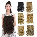 """Hot Sell Women 20"""" 5 Clip-In Synthetic Hair Extension 120 Grams Natural Wavy Black/Brown/Blonde Heat Resistant Fiber for Lady"""