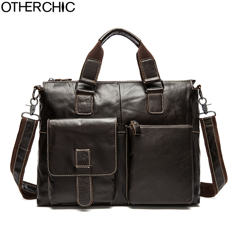 OTHERCHIC Genuine Leather Men Briefcase Men's Messenger Bags 14 Laptop Business Shoulder Crossbody Bag Lawyer Handbag 7N04-25 mva genuine leather men bag business briefcase messenger handbags men crossbody bags men s travel laptop bag shoulder tote bags