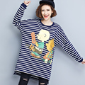 2016 Autumn Plus Size Women's Clothing Fashion Cartoon Printed Long Section Bat Sleeve Blue Striped T-shirt Shirt