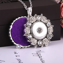 2019 New Rose rhinestone Snap Jewelry Perfume Aromatherapy Lockets Aroma Diffuser Necklace Fit 20mm 18mm Snap Button Jewelry(China)