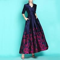 New Autumn Fashion Vintage Jacquard Ultra Long Women Dresses Elegant V Neck Slim Waist Thickening Formal Dress Long Sleeve