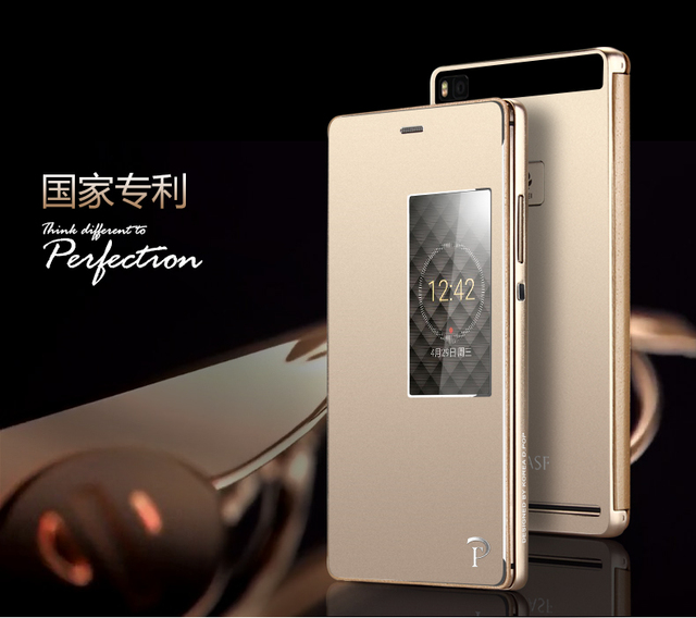sale retailer 781b1 19852 Huawei P8 Case Luxury View Display Window Metal Flip Cover Case For Huawei  Ascend P8 5.2 Original Aluminum Mobile Phone Cases-in Phone Bags & Cases ...