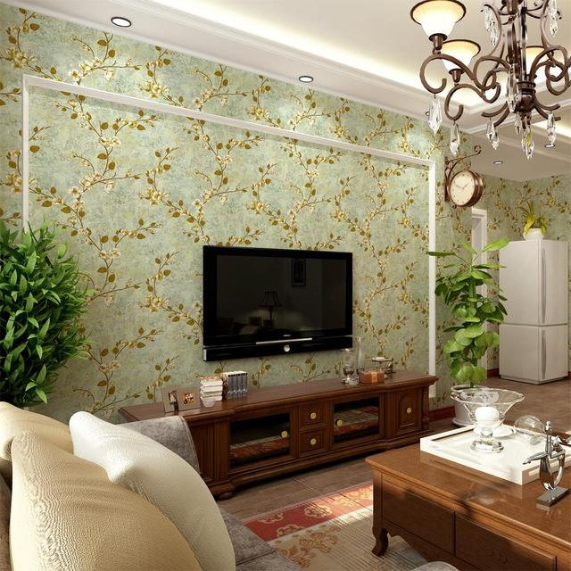 American Style Wallpaper Pastoral Retro Nonwoven Blades Wall Background For  Bedroom Living Room Plain TV Walls