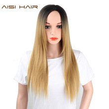 AISI HAIR Blonde Ombre Wig Long Straight Hair Synthetic for Women Free Shipping