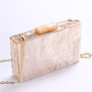Image 4 - Bolsa de acrílico feminina, bolsa de acrílico de pérola com corrente geométrica, de retalhos, elegante, para festas, baile