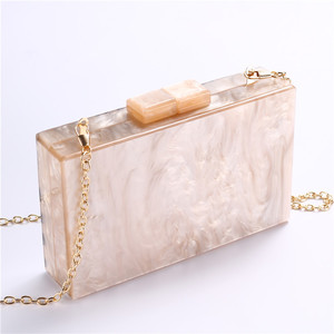 Image 4 - Fashion Pearlescent Acrylic Bag Chain Women Messenger Bag Geometric Patchwork Clutches Elegant Evening Bag Party Prom Handbags