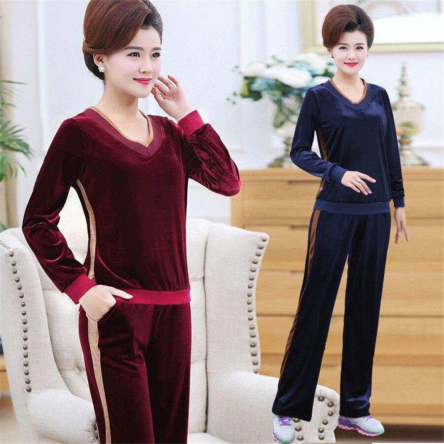 2019 New Spring Autumn Casual Tracksuit Velvet Pant Suits Two Piece Set Women Long Sleeve Sweater And Wide Leg Pants Suit 2PCS