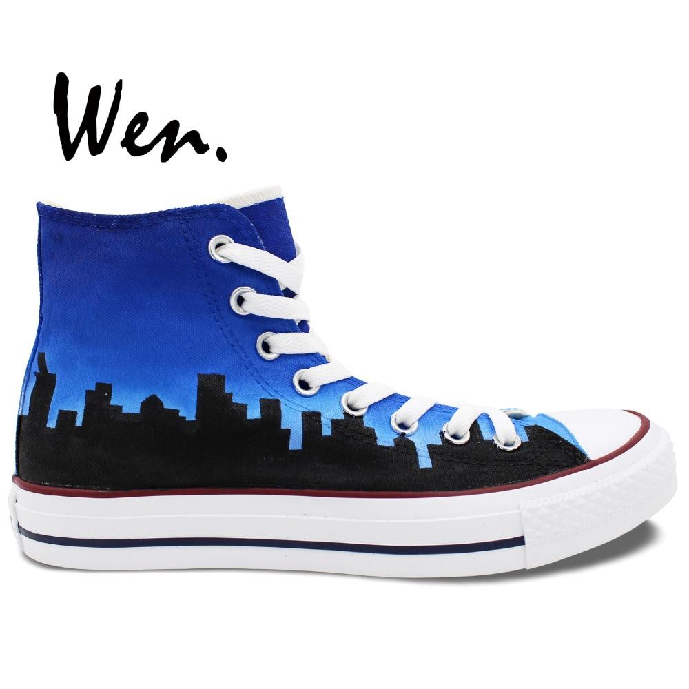 เหวินออกแบบที่กำหนดเองมือทาสีรองเท้าชิคาโกธงเมือง Skyline ผู้ชายผู้หญิงของสีฟ้ารองเท้าผ้าใบยอดนิยมผ้าใบ