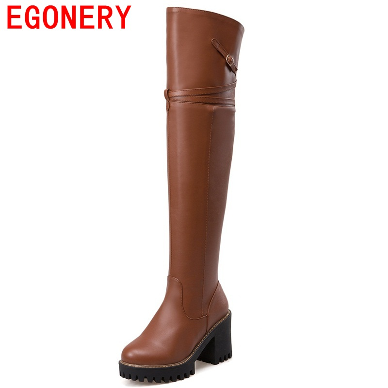 ФОТО EGONERY shoes 2017 europe and america style women winter elegant over the knee boots modern buckles side zipper riding boots