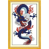 Cross stitch embroidery kits, DIY cross stitch, set embroidery suit, print Chinese fire dragon enough canvas for embroidery