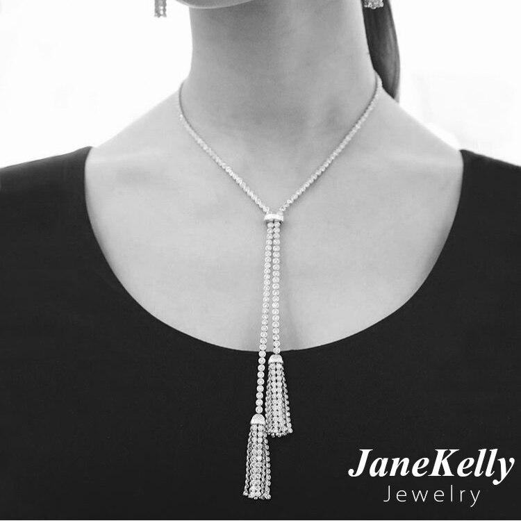 Prix pour Nouveau design zircon long gland pendentif necklacet pour femmes, jane kelly parti/de mariage Cstar Yashow Bijoux Manteau Chandail chaîne