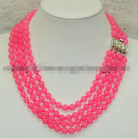 Free shipping >>@ >818 Charming! 4 Rows 8mm Pink Alexandrite jewerly Necklace