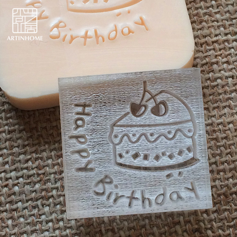 2016 free shipping natural handmade acrylic soap seal stamp mold chapter mini diy cake patterns organic glass 4X4cm 0081 купить дешево онлайн