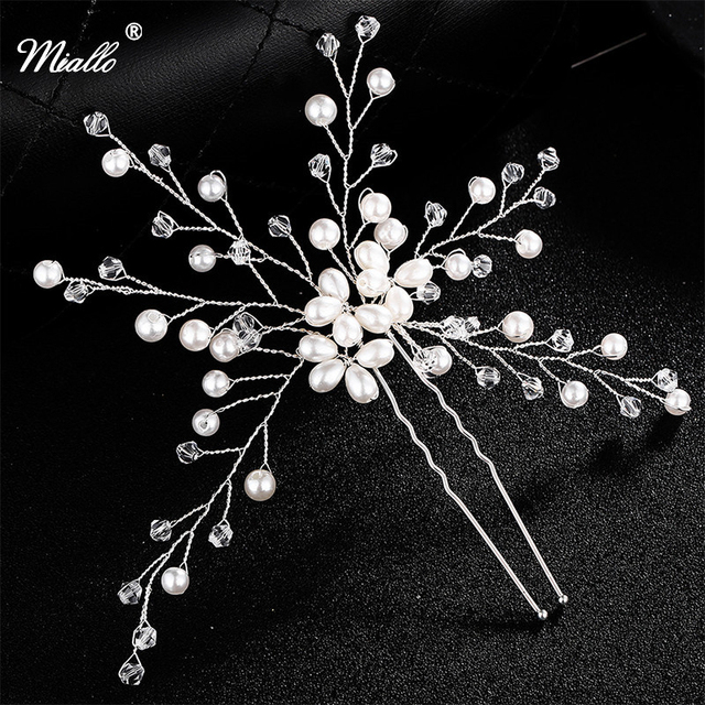 Miallo Handmade Hair Pins Accessories Fl Pave Pearl Beaded Flower Crystal Bridal Clips Wedding