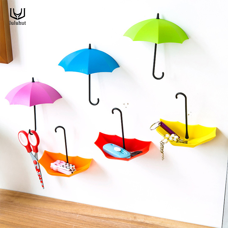 Luluhut 3 Pcs/lot Bathroom Hook Umbrella Pattern Decorative Rack Colourful Key Hook Small Object Storage Wall Coat Rack