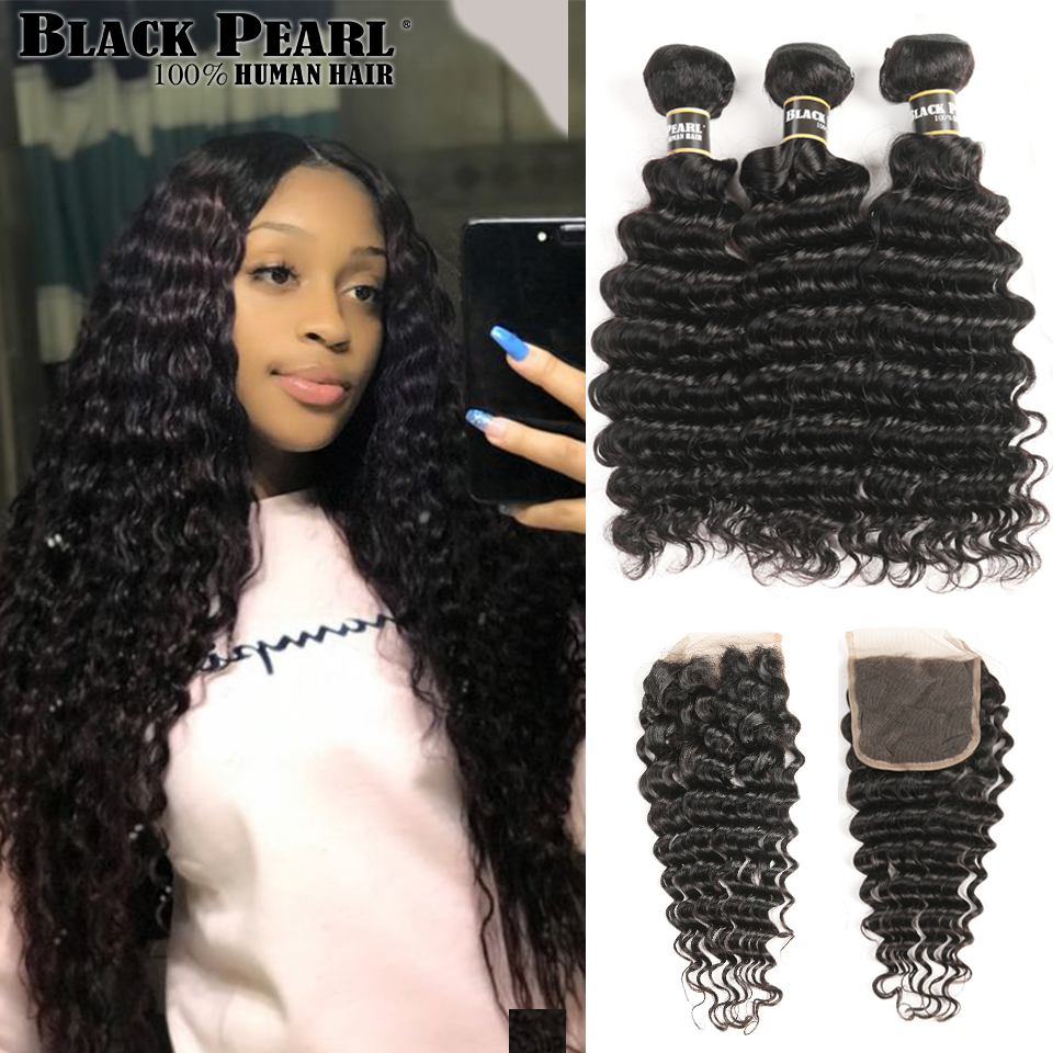 Black Pearl Human Hair Deep Wave Bundles With Closure Non Remy Malaysian Hair Bundles With Closure