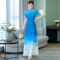 2019 summer japanese ao dai three quarter kimonos polyester women ao dai haori sleeve vietnam aodai cheongsam dress