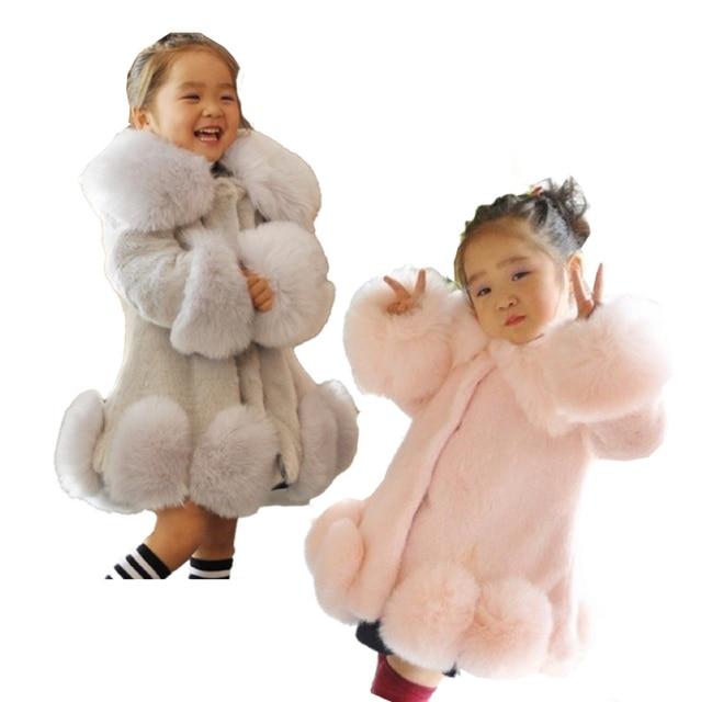 Fashion Girls Faux Fur Jacket Warm Children Winter Jacket Children Tops Patched Fur Jacket for Girl