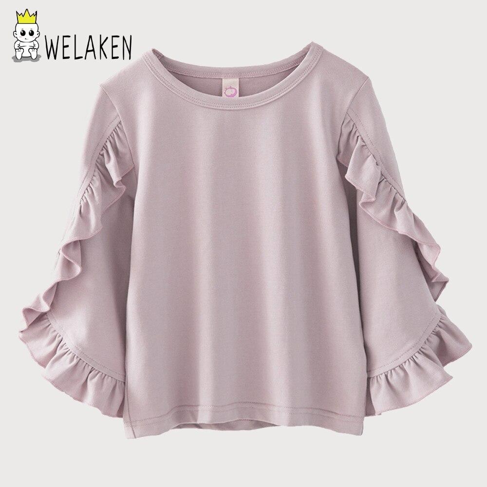 WeLaken 2018 Frühling Mädchen T Shirts Rüschen Long Sleeve Tops Kleinkind Oansatz Casual Shirts Kinderbekleidung Soild Baumwolltuch
