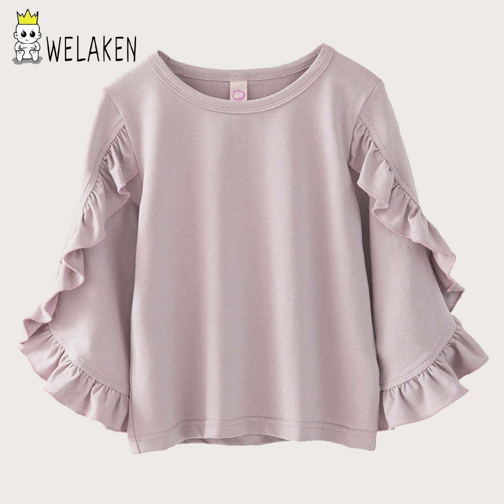 weLaken 2018 Spring Girls T Shirts Ruffled Long Sleeve Tops Toddler O-neck Casual Shirts Children's Clothing Soild Cotton Cloth black casual round neck ruffled dress