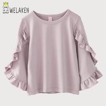 WeLaken/2018 Весенние футболки для девочек, топы с длинными рукавами и оборками, повседневные рубашки с круглым вырезом для малышей, детская одежда, однотонная хлопковая одежда
