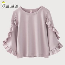 d57e5724dd436 weLaken 2018 Spring Girls T Shirts Ruffled Long Sleeve Tops Toddler O-neck  Casual Shirts Children s Clothing Soild Cotton Cloth
