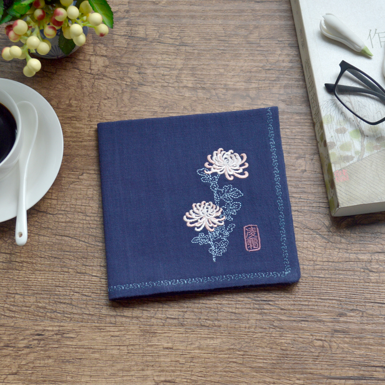 Embroidered Antique Embroidery Flower Cotton Handkerchief Small Pocket Square Birthday Gift Foreign Guests Chinese Style Gift